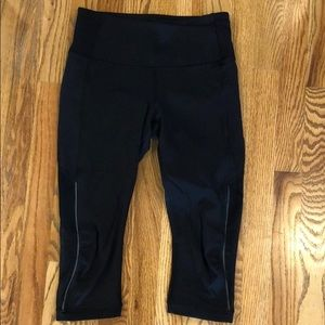 Lululemon Capri with mesh and reflective detail